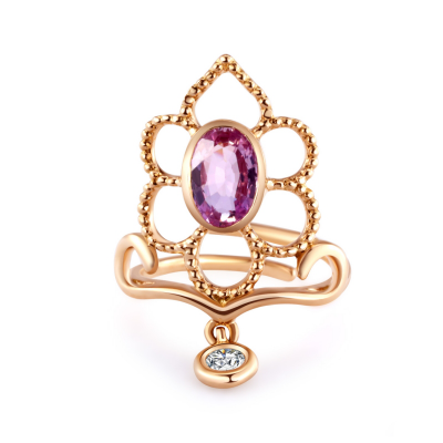 RING WITH GEMSTONE AND DIAMOND