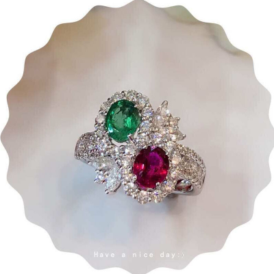 RING WITH EMERALD , RUBY AND DIAMOND
