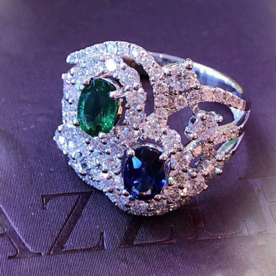 RING WITH EMERALD , SAPPHIRE AND DIAMOND
